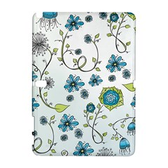 Blue Whimsical Flowers  On Blue Samsung Galaxy Note 10 1 (p600) Hardshell Case