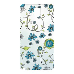 Blue Whimsical Flowers  On Blue Samsung Galaxy Note 3 N9005 Hardshell Back Case
