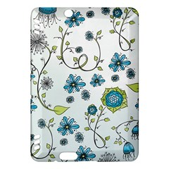 Blue Whimsical Flowers  on blue Kindle Fire HDX 7  Hardshell Case