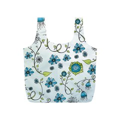 Blue Whimsical Flowers  on blue Reusable Bag (S)