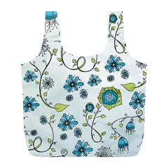 Blue Whimsical Flowers  On Blue Reusable Bag (l)
