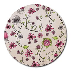 Pink Whimsical flowers on beige 8  Mouse Pad (Round)