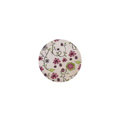 Pink Whimsical flowers on beige 1  Mini Button