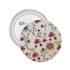 Pink Whimsical flowers on beige 2.25  Button