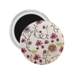 Pink Whimsical flowers on beige 2.25  Button Magnet