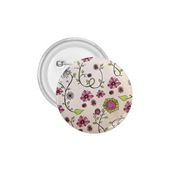 Pink Whimsical flowers on beige 1.75  Button