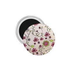 Pink Whimsical flowers on beige 1.75  Button Magnet