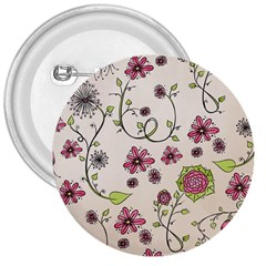 Pink Whimsical Flowers On Beige 3  Button