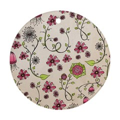 Pink Whimsical flowers on beige Round Ornament