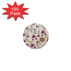 Pink Whimsical flowers on beige 1  Mini Button (100 pack)