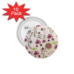 Pink Whimsical flowers on beige 1.75  Button (10 pack)