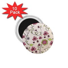 Pink Whimsical Flowers On Beige 1 75  Button Magnet (10 Pack)