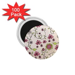 Pink Whimsical Flowers On Beige 1 75  Button Magnet (100 Pack)