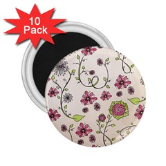 Pink Whimsical flowers on beige 2.25  Button Magnet (10 pack)