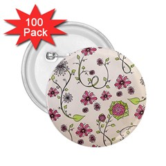 Pink Whimsical flowers on beige 2.25  Button (100 pack)