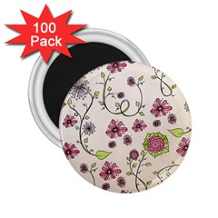 Pink Whimsical flowers on beige 2.25  Button Magnet (100 pack)