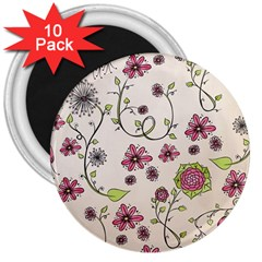 Pink Whimsical Flowers On Beige 3  Button Magnet (10 Pack)
