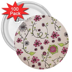 Pink Whimsical flowers on beige 3  Button (100 pack)