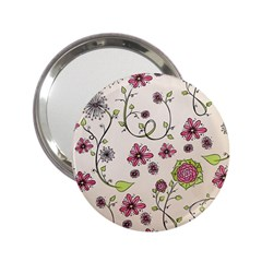 Pink Whimsical Flowers On Beige Handbag Mirror (2 25 )