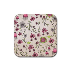 Pink Whimsical flowers on beige Drink Coaster (Square)