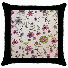 Pink Whimsical Flowers On Beige Black Throw Pillow Case
