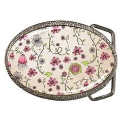 Pink Whimsical flowers on beige Belt Buckle (Oval)