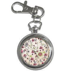 Pink Whimsical flowers on beige Key Chain Watch
