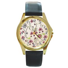 Pink Whimsical Flowers On Beige Round Leather Watch (gold Rim)