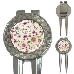 Pink Whimsical flowers on beige Golf Pitchfork & Ball Marker