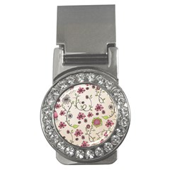 Pink Whimsical flowers on beige Money Clip (CZ)
