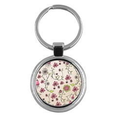 Pink Whimsical flowers on beige Key Chain (Round)