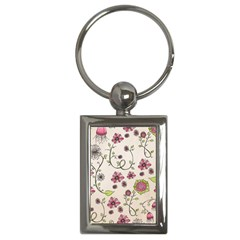 Pink Whimsical Flowers On Beige Key Chain (rectangle)