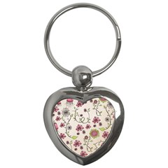 Pink Whimsical flowers on beige Key Chain (Heart)