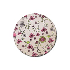 Pink Whimsical flowers on beige Drink Coaster (Round)