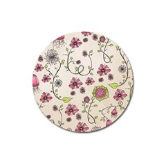 Pink Whimsical flowers on beige Magnet 3  (Round)