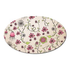 Pink Whimsical Flowers On Beige Magnet (oval)