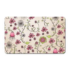 Pink Whimsical flowers on beige Magnet (Rectangular)
