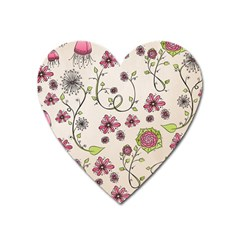 Pink Whimsical flowers on beige Magnet (Heart)