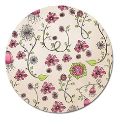 Pink Whimsical Flowers On Beige Magnet 5  (round)