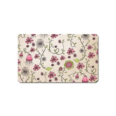 Pink Whimsical flowers on beige Magnet (Name Card)