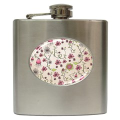 Pink Whimsical flowers on beige Hip Flask