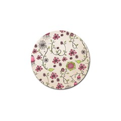 Pink Whimsical flowers on beige Golf Ball Marker 4 Pack