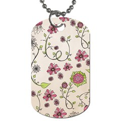Pink Whimsical flowers on beige Dog Tag (Two-sided)