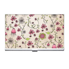 Pink Whimsical flowers on beige Business Card Holder