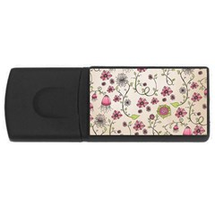 Pink Whimsical flowers on beige 2GB USB Flash Drive (Rectangle)