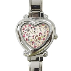 Pink Whimsical flowers on beige Heart Italian Charm Watch