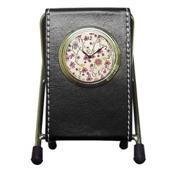 Pink Whimsical flowers on beige Stationery Holder Clock