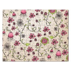 Pink Whimsical flowers on beige Jigsaw Puzzle (Rectangle)