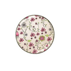 Pink Whimsical flowers on beige Golf Ball Marker 4 Pack (for Hat Clip)