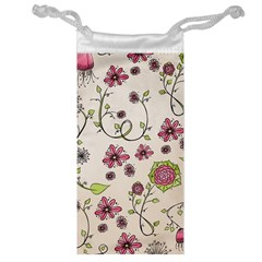 Pink Whimsical flowers on beige Jewelry Bag